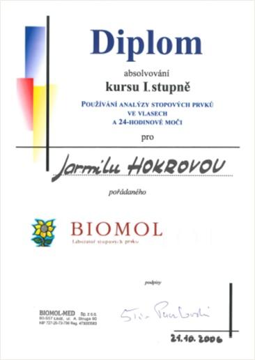 Certifikát 2005 Biomol kurz I. stupně, Používání analýzy stopových prvků