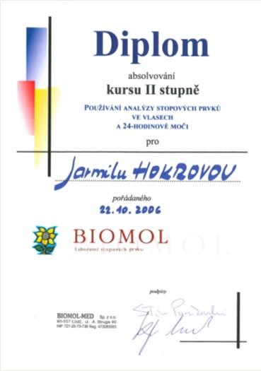 Certifikát 2006 Biomol kurz II. stupně, Používání analýzy stopových prvků