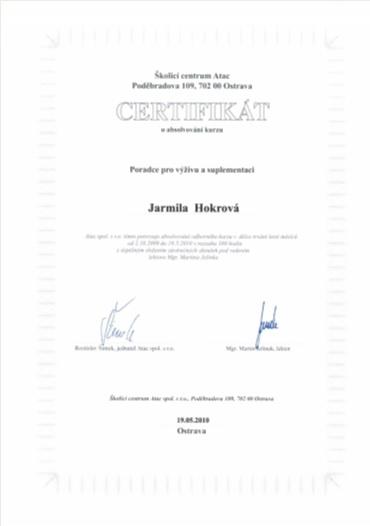 Certifikát 2010 – školící centrum ATAC – Poradce pro výživu a suplementaci