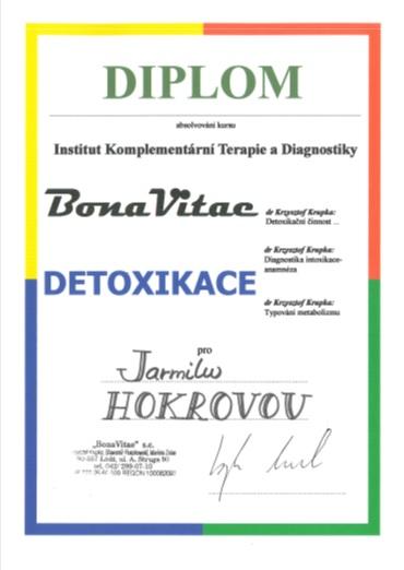 Certifikát 2006 – Institut komplementární Terapie a Diagnostiky – kurz Detoxikace