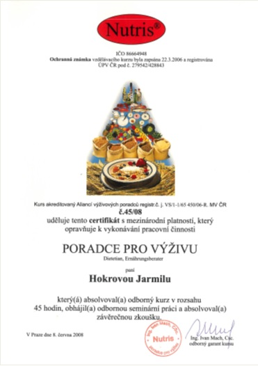 Certifikát 2008 – škola Nutris – Poradce pro výživu