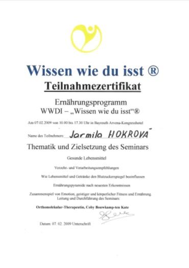 Certifikát 2008 – Coby Bouwkamp-ten Kate, program Vím, jak jím – detoxikace a hubnutí
